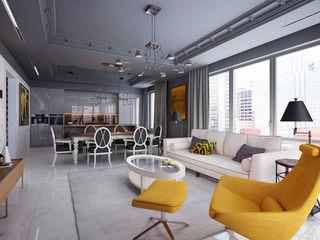 New York. Living room. Part I KAPRANDESIGN Гостиные в эклектичном стиле Медь / Бронза / Латунь Желтый