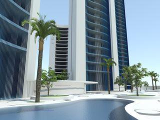 TORRE DYOV STUDIO Arquitectura. Concepto Passivhaus Mediterráneo. 653773806 Casas de estilo moderno Hierro/Acero Azul
