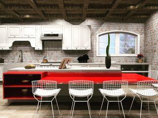 MV Arquitetura e Design カントリーデザインの キッチン レンガ 赤色
