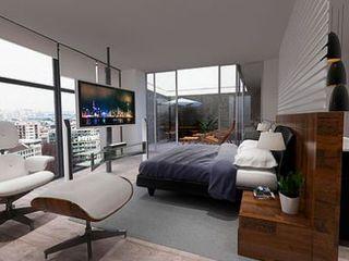 ArtiA desarrollo, arquitectura y mobiliario. Camera da letto minimalista Effetto legno