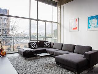 Old Street Duplex YAM Studios Industriale Wohnzimmer Grau