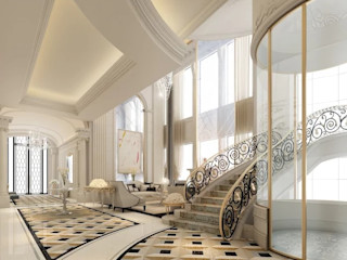 Exploring Luxurious Homes : Lobby Interior Design IONS DESIGN Classic corridor, hallway & stairs Marble Metallic/Silver