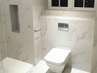 En-suite Bathroom with Carrara Marble Effect Porcelain Tiles Porcel-Thin Modern bathroom Tiles White