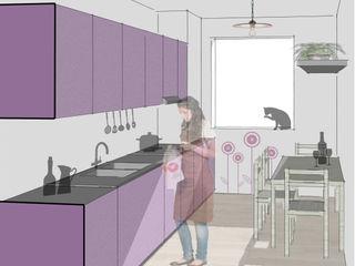 Appartamento_CF Riccardo Cazzaniga Architetto Cucina rurale Legno Viola/Ciclamino