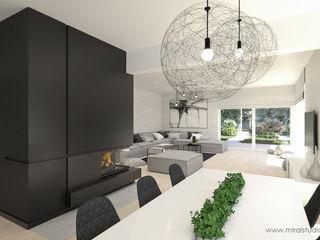 MIRAI STUDIO Salones de estilo minimalista Piedra Negro