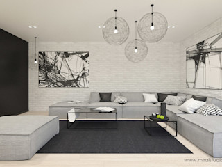 MIRAI STUDIO Salones de estilo minimalista Ladrillos Blanco