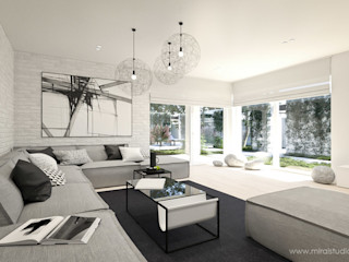 MIRAI STUDIO Salones de estilo minimalista Ladrillos Gris