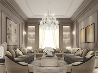 Cozy Contemporary Living Room IONS DESIGN Living room Marble Multicolored