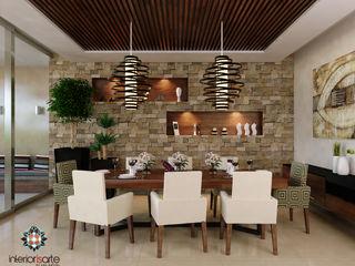 Interiorisarte Dining roomLighting Stone Wood effect