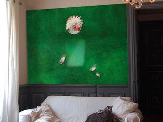 """CRAZY CHICKEN """"JACQUELINE"""" ELISABETH LEROY Collections Murs & SolsPapier peint Papier Vert"""