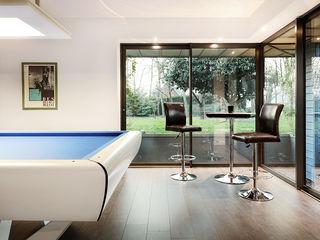 Extension salle de billard O2 Concept Architecture Jardin d'hiver moderne Bois Bleu