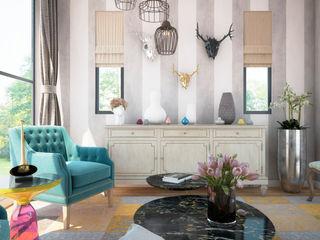 MRamos Phòng khách phong cách chiết trung Gỗ Wood effect