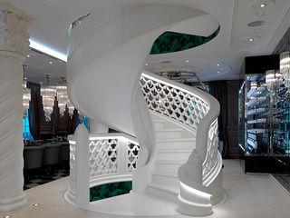 Grassi Pietre srl Classic corridor, hallway & stairs Marble White