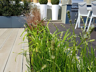 South Kensington roof terrace Paul Newman Landscapes 露臺 塑木複合材料 Grey