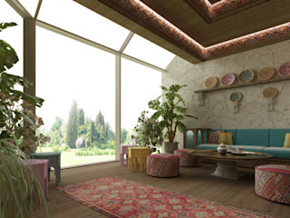 Exploring Luxurious Homes : Exterior Majlis Room Design IONS DESIGN Eclectic style gardens Wood Multicolored