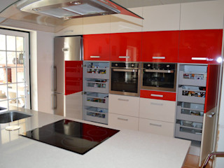 Ansidecor Nhà bếp phong cách hiện đại Gỗ thiết kế Red