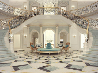 Exploring Luxurious Homes : Grand Lobby Interior Design IONS DESIGN Classic corridor, hallway & stairs Marble Multicolored