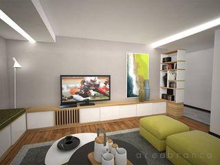 Projeto - Sala e Cozinha DA Areabranca Salas de estar modernas