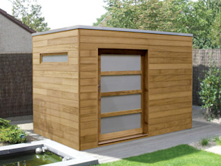 Iroko Box homify Garasi Modern Kayu Wood effect