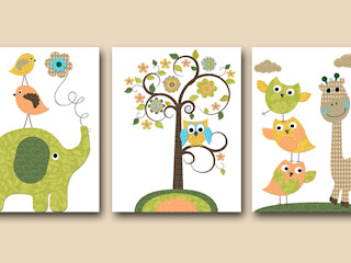 Owl Decor Owl Nursery Giraffe Nursery artbynataera Chambre d'enfantsAccessoires & décorations Papier Vert