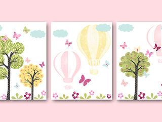 Hot Air Balloon Baby Girl Nursery Print artbynataera Chambre d'enfantsAccessoires & décorations Papier Rose