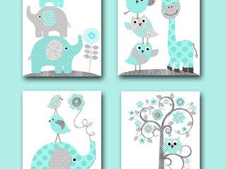 Childrens Art Print Kids Art Kids Wall Art artbynataera Chambre d'enfantsAccessoires & décorations Papier Bleu