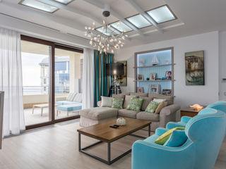 Bellarte interior studio Ruang Keluarga Gaya Skandinavia Turquoise