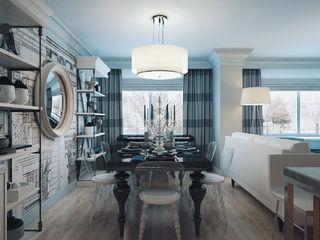 2 bedroom apartment. New York KAPRANDESIGN Столовая комната в эклектичном стиле Дерево Бирюзовый