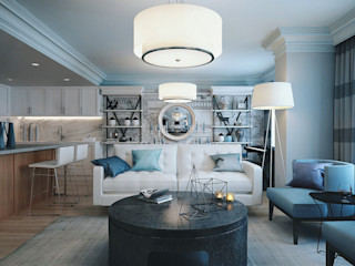 2 bedroom apartment. New York KAPRANDESIGN Гостиные в эклектичном стиле Камень Синий