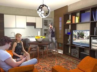 Mini appartamento da 50 mq - 50 sqm flatlet Planet G Soggiorno moderno