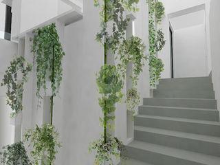 Yeme + Saunier Minimalist corridor, hallway & stairs MDF White