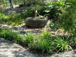 Elemento aquático em construção Atelier Jardins do Sul Jardins ecléticos