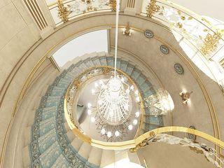 Curved Staircase Design Ideas IONS DESIGN Mediterranean corridor, hallway & stairs Copper/Bronze/Brass Beige