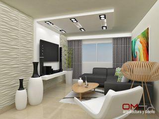 Diseño interior en apartamento om-a arquitectura y diseño Salas de estilo moderno