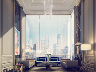 Penthouse Sitting Room Design IONS DESIGN Living room Marble Multicolored
