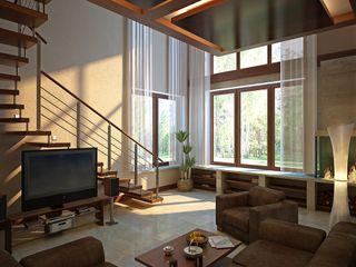 Design studio of Stanislav Orekhov. ARCHITECTURE / INTERIOR DESIGN / VISUALIZATION. Couloir, entrée, escaliers modernes
