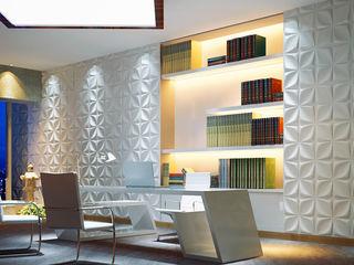 Paredes 3D A EXCLUSIVA - Sustainable Buildings Materials Parede e pisoDecoração de parede Fibra natural Branco