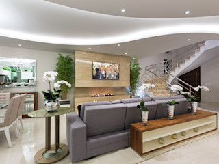 Designer de Interiores e Paisagista Iara Kílaris Salas de estilo moderno Mármol Beige