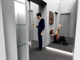 ArchitetturaTerapia® 現代風玄關、走廊與階梯 陶器 Grey