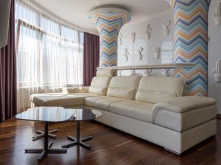 Bellarte interior studio Ruang Keluarga Gaya Mediteran White