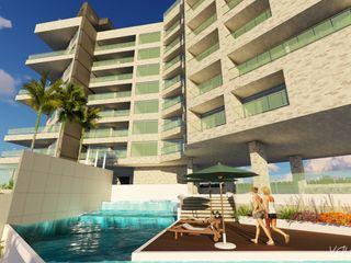 """Conjunto de Apartamentos """"Puerto Plata"""" Grupo JOV Arquitectos Piscinas de estilo moderno"""