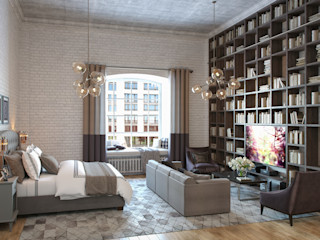 Alexander Krivov 客廳 磚塊 White