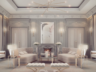 Lounge Room Design in Refined Transitional Style IONS DESIGN Living room Marble Beige