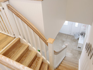 STREGER Massivholztreppen GmbH Modern Corridor, Hallway and Staircase Solid Wood White