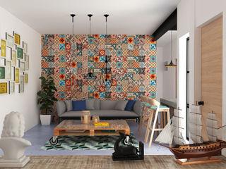 Hipercubo Arquitectura Ruang Keluarga Gaya Kolonial Beton Brown