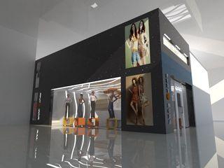 PROYECTO LOCAL COMERCIAL C.C. PASEO MALL SAN FRANCISCO CelyGarciArquitectos Espacios comerciales Granito Negro