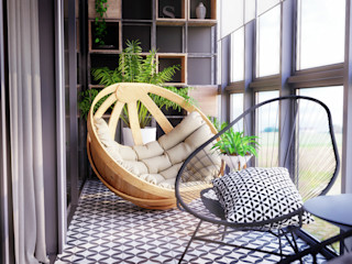 homify Scandinavian style balcony, porch & terrace Black