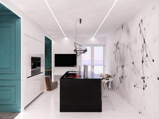 QUADRUM STUDIO Cocinas de estilo ecléctico Blanco