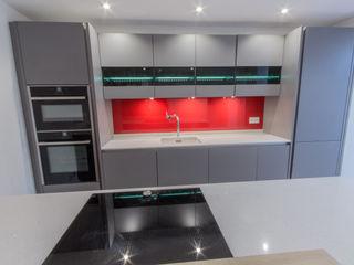 Grey and Red Eco German Kitchens Cucina moderna MDF Grigio