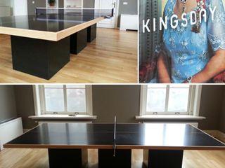Ontwerp vergadertafel meubel voor reclamebureau KINGSDAY Amsterdam LINDESIGN Amsterdam Ontwerp Design Interieur Industrieel Meubels Kunst Kantoren & winkels Hout Zwart